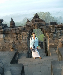 Travel Cutie-at-beautiful-Borobudur-Java-during-free-trip-Indonesia-free-flight-Delta-Asia-free-hotel-Sheraton-Jogjakarta-Java